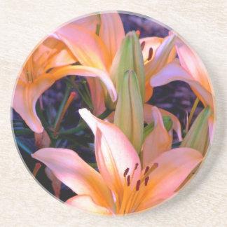 Trio of Soft Orange Lilies Drink Coaster