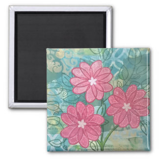 Trio of whimsical flowers magnet
