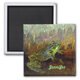 Triopse Fantasy Three-Eyed Frog in a Cave Pool Square Magnet