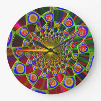 Trip In Psychedelic 3D Optics Large Clock