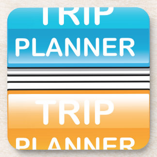 Trip Planner Button Glossy vector Beverage Coasters