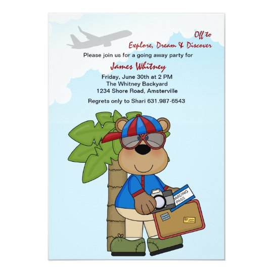 Trip Ready Teddy Going Away Party Card