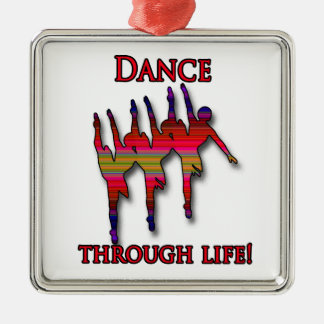 Triple ballerina silhouette with text christmas ornament
