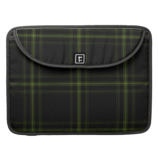 Triple Black Green Tartan Plaid Large Pattern MacBook Pro Sleeves