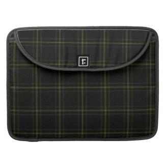 Triple Black Green Tartan Plaid Small Pattern MacBook Pro Sleeve
