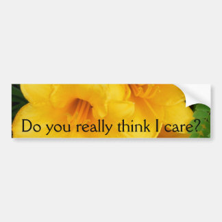 Triple Bloom, Do you really think I care? # 1 Bumper Stickers