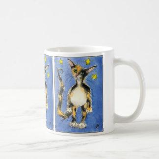 Triple blue cat on starry mug