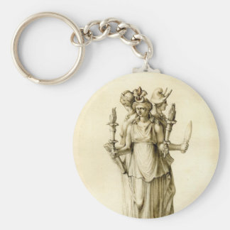 Triple-Bodied Hecate Basic Round Button Key Ring