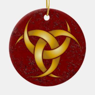 Triple Crescent Moon - Gold - 2 Round Ceramic Decoration