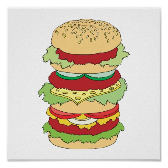 triple decker hamburger poster