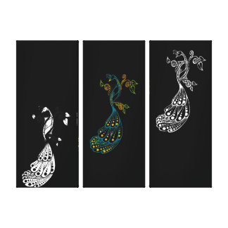 Triple Dotty Peacock Wrapped Canvas Canvas Print