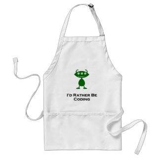 Triple Eye Id rather be coding green Adult Apron