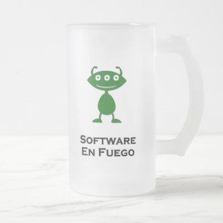 Triple Eye Software En Fuego green Frosted Glass Beer Mug
