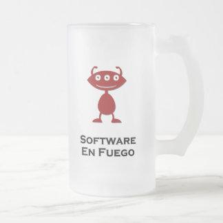 Triple Eye Software En Fuego red Frosted Glass Mug
