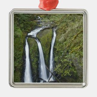 Triple Falls, Columbia River Gorge Silver-Colored Square Decoration