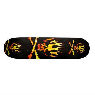 triple flame skull skateboard decks