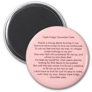 Triple Fudge Chocolate Cake 6 Cm Round Magnet