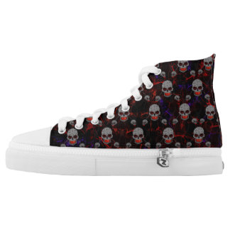 Triple Grey Skulls High Tops