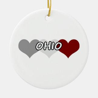 Triple Heart Ohio Christmas Ornament