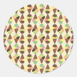 triple icecream pattern round sticker