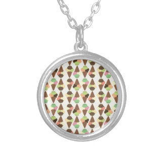 triple icecream pattern silver plated necklace