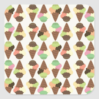 triple icecream pattern square sticker