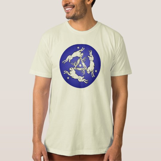 Triple Jackalopes White on Blue T-Shirt
