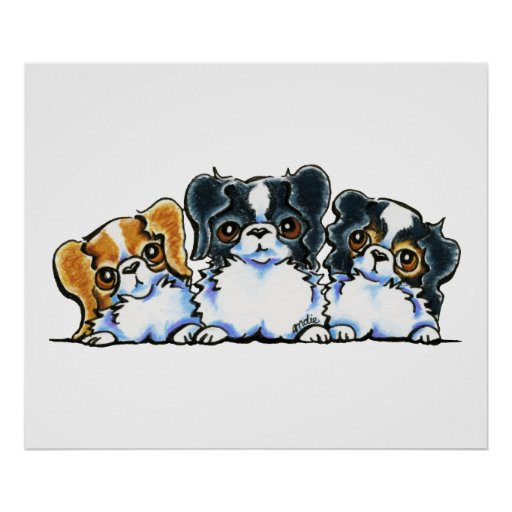 Triple Japanese Chin Poster