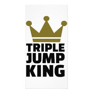 Triple jump king photo greeting card