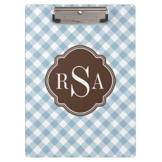 Triple Monogram Brown Blue Gingham Pattern Clipboard