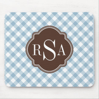 Triple Monogram Brown Blue Gingham Pattern Mouse Mat