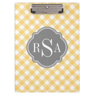 Triple Monogram Grey Yellow Gingham Pattern Clipboard