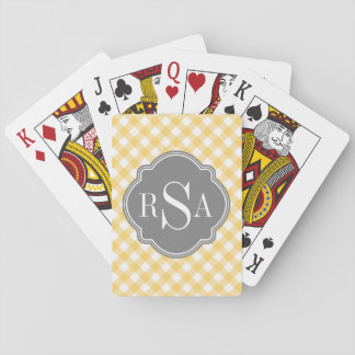 Triple Monogram Grey Yellow Gingham Pattern Playing Cards