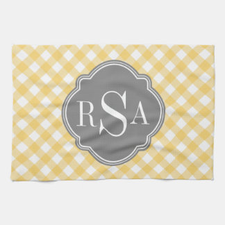 Triple Monogram Grey Yellow Gingham Pattern Tea Towel