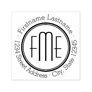 Triple Monogram with Name and Return Address Self-inking Stamp