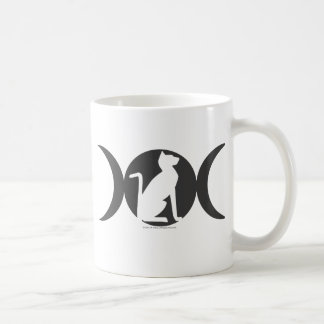 Triple Moon Cat Basic White Mug
