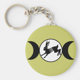 Triple Moon Hare Basic Round Button Key Ring