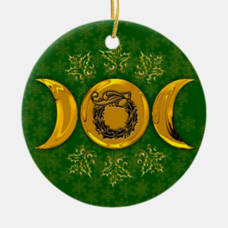 Triple Moon & Holly Wreath #3 Christmas Ornament