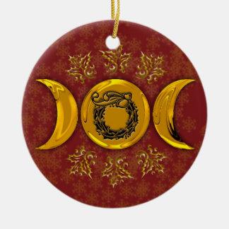 Triple Moon & Holly Wreath #4 Christmas Ornament