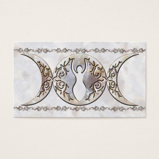 Triple Moon Moonstone Goddess Business Card