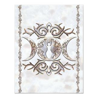Triple Moon Moonstone Goddess Card