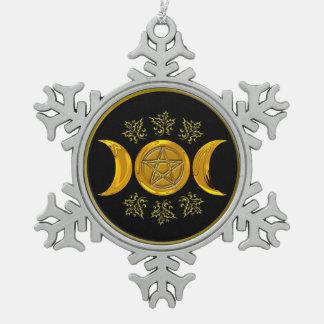 Triple Moon & Pentacle - Pewter Snowflake 1 Pewter Snowflake Decoration