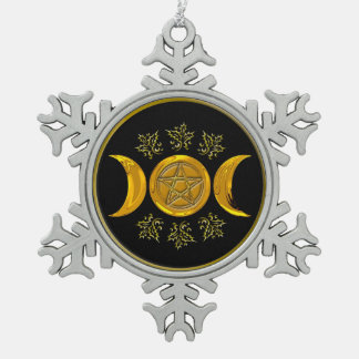 Triple Moon & Pentacle - Pewter Snowflake 1 Snowflake Pewter Christmas Ornament