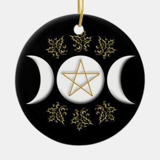 Triple Moon & Pentagram #1 Christmas Ornament