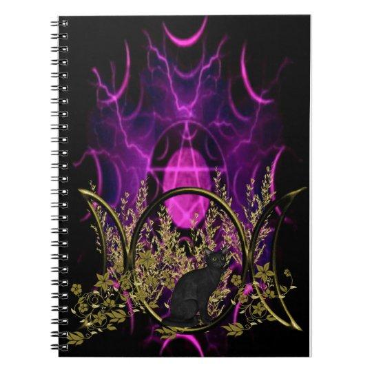 Triple Moon Symbol - Black Cat Notebooks