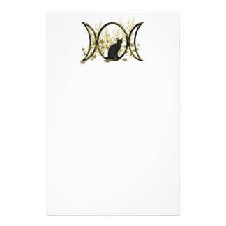 Triple Moon Symbol - Black Cat Stationery Paper