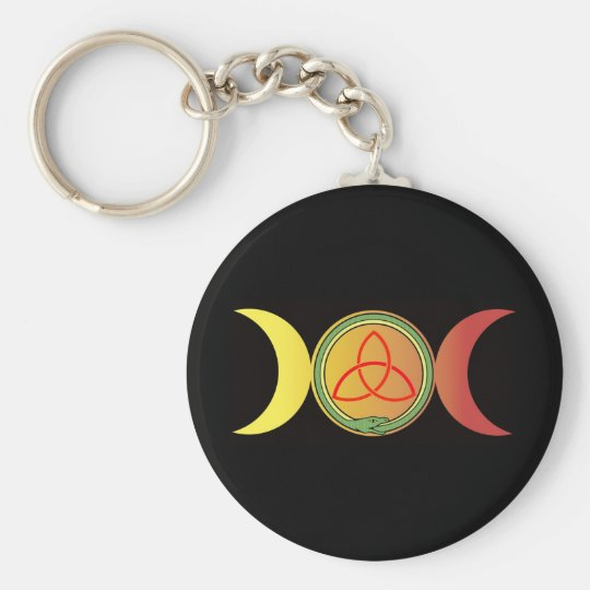 triple moon with green ouroboros and red triquetra key ring