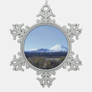 triple mountains new zealand snowflake pewter christmas ornament