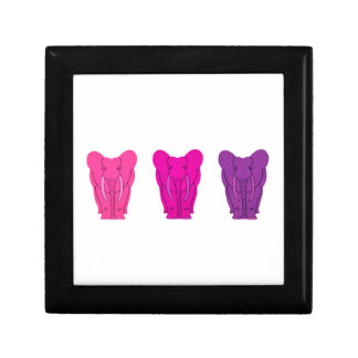 Triple Pink Elephants Gift Box