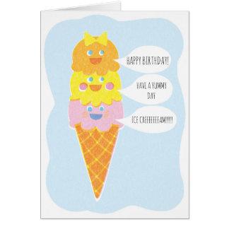 Triple Scoop Girl Ice Cream Greeting Card